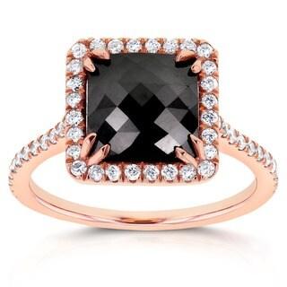 Annello 14k Rose Gold 4 1/4ct TDW Square Shape Black and White Diamond Halo Ring (G-H, I1-I2)