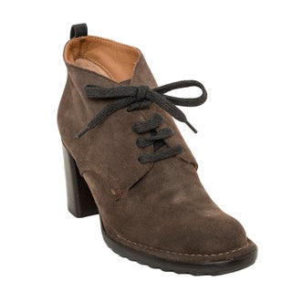 Alberto Fermani Velvet Tortora Lace-Up Ankle Boots