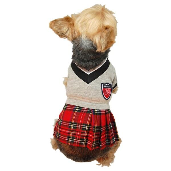 ANIMA Red Plaid School Pet Dress