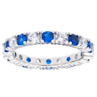 Sterling Silver Created Sapphire/ Ruby and Cubic Zirconia Eternity Band