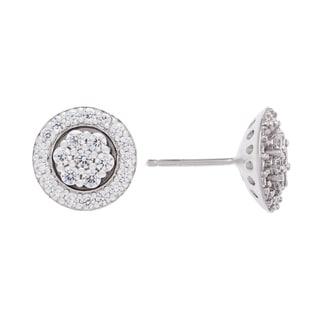 Sterling Silver Cluster Floral Cubic Zirconia Stud Earrings