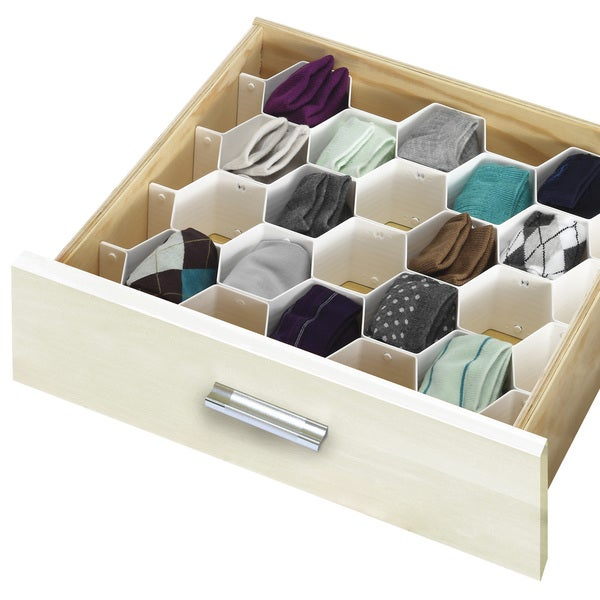 Simplify 34 Compartment Honeycomb Drawer Organizer