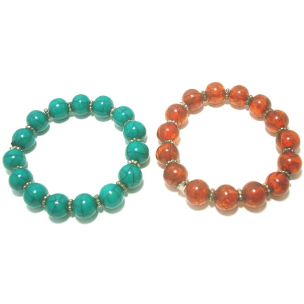 Red and Green Resin Beads Stretch Bracelet (Set of 2)