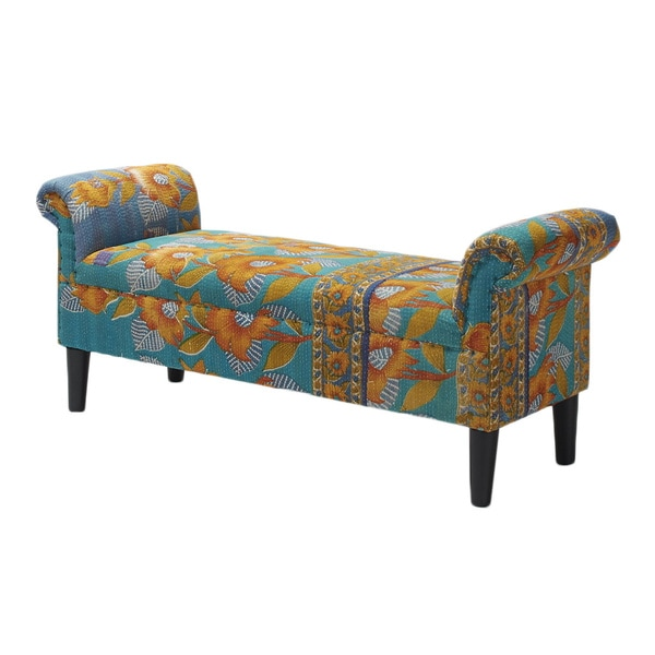Jennifer Taylor Kantha Blue/ Yellow Arm Bench