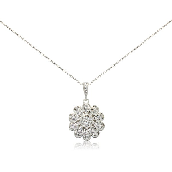 Gioelli Sterling Silver Daisy Cubic Zirconia Necklace