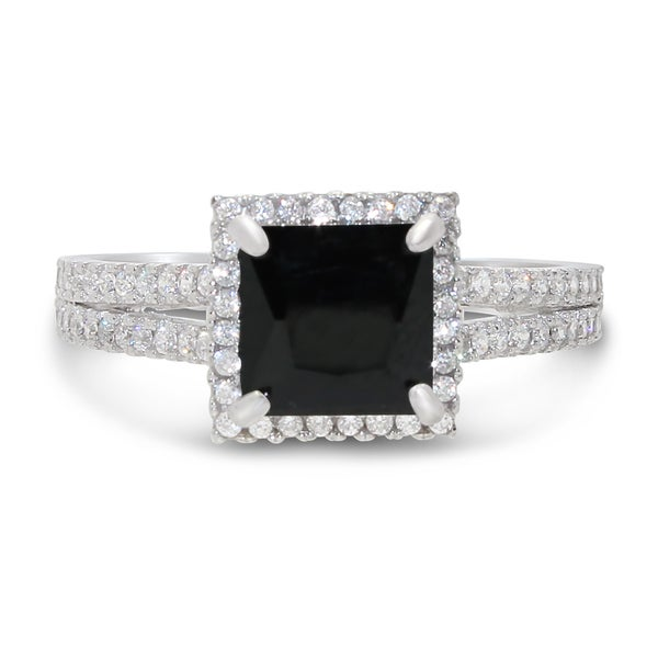 Gioelli 10k White Gold Square-cut Black Cubic Zirconia Ring (Size 8)