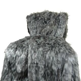 Plutus Luxury Grey Wolf Faux Fur Throw Blanket