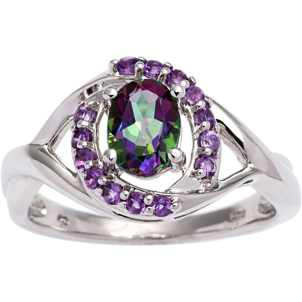 Sterling Silver Mystic Topaz and Amethyst Ring