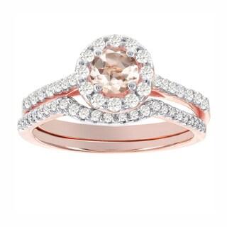 H Star 14k Rose Gold 1/2ct TDW Diamond and Morganite Halo Bridal Set (I-J, I2-I3)