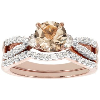 H Star 14k Rose Gold 1/2ct TDW Diamondand Morganite Bridal Set (I-J, I2-I3)