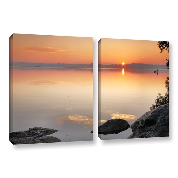 ArtWall Steve Ainsworth 'Potomac Sunrise' 2 Piece Gallery-wrapped Canvas Set