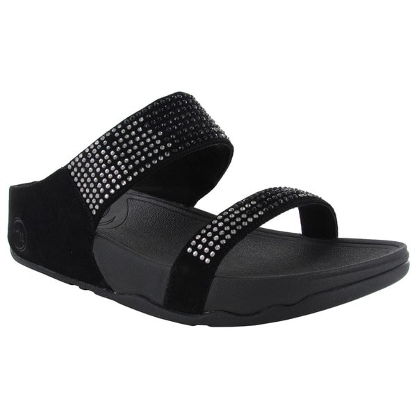 FitFlop Womens Flare Slide Leather Sandals