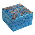 Handmade Fabric Jewelry Box with Gold Trim (India)