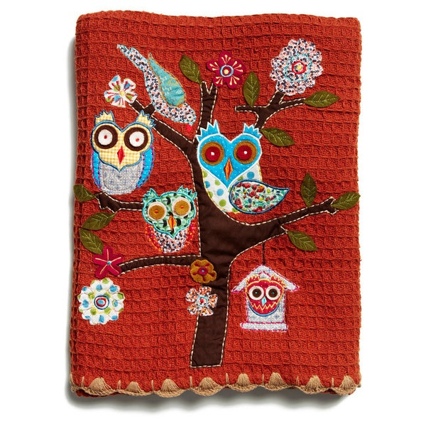 Trois Owls Burnt Orange Cotton Throw