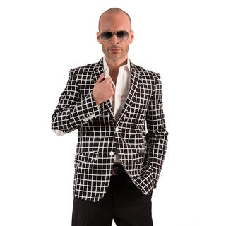 Elie Balleh Milano Italy Men's Cotton Checker Print Slim Fit Blazer