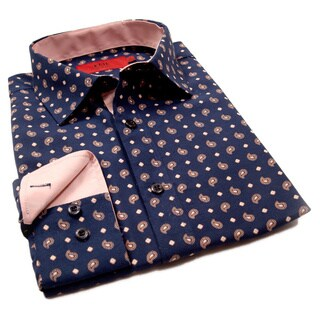 Elie Balleh Milano Italy Boys' Navy Paisley Slim Fit Shirt