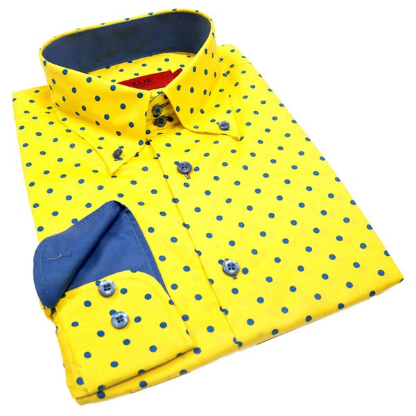 Elie Balleh Milano Italy Boys' Polka Dot Slim Fit Shirt
