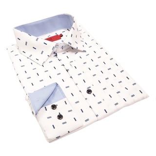 Elie Balleh Milano Italy Men's Line Print Slim Fit Shirt