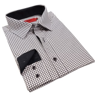 Elie Balleh Milano Italy Men's Houndstooth Slim Fit Shirt
