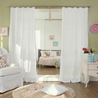 Lights Out Mini Geometric Eyelet Embroidered Cut-out Cotton Curtain Panel (Set of 2)