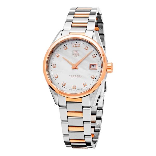 Tag Heuer Women's WAR1352.BD0779 'Carrera' Mother of Pearl Diamond Dial Two Tone Swiss Quartz Watch