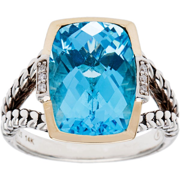 lan Swiss Blue Topaz and Diamond Accent Ring (Size 7)