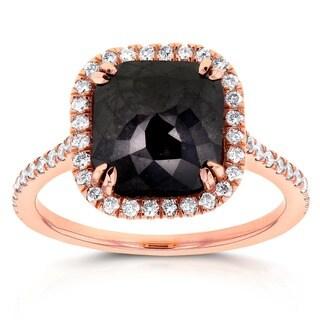 Annello 14k Rose Gold 3 7/8ct TDW Black and White Diamond Ring (G-H, I1-I2)