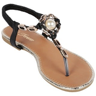 Coshare Women's Fashion Reyna-80 Leather PU Metal Embellished Upper Low Top Flat Sandals