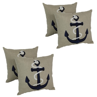Blazing Needles Macaft 17-inch Spun Polyester Outdoor Throw Pillows (Set of 4)