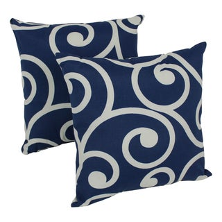 Blazing Needles Swirls 17-inch Spun Polyester Outdoor Throw Pillows (Set of 2)
