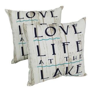 Blazing Needles Lakelife 17-inch Spun Polyester Outdoor Throw Pillows (Set of 2)