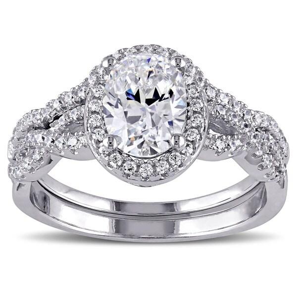 Miadora Sterling Silver Cubic Zirconia Bridal Ring Set 17547038