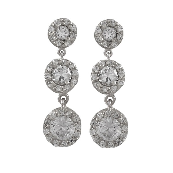 Sterling Silver Cubic Zirconia Three Tier Circle Dangle Earrings