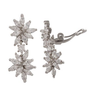Sterling Silver Marquise Cubic Zirconia Cluster Clip-on Dangle Earrings