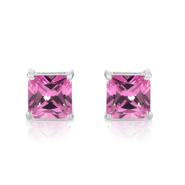 Pink Princess Cut Stud Earrings