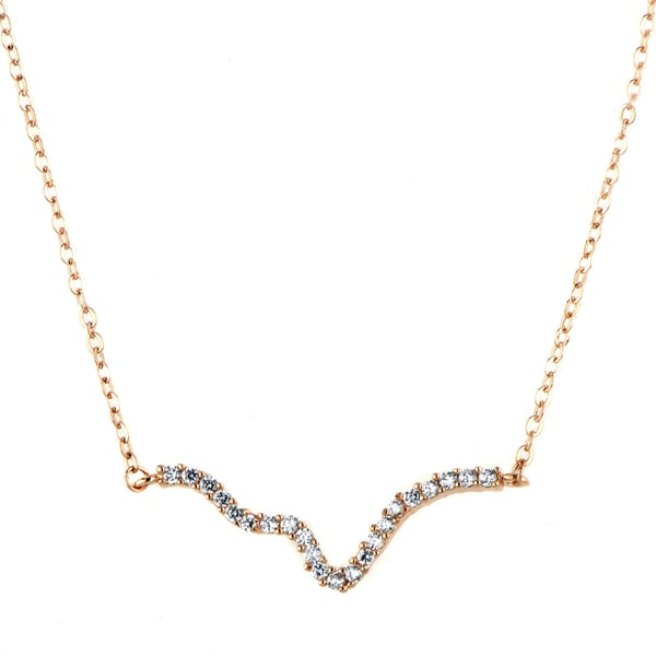 Copper Rose Gold CZ Curvy Bar Charm Necklace
