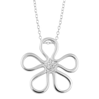 Fremada Sterling Silver with Crystals High Polish Flower Pendant on Cable Chain Necklace