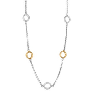 Fremada Two-tone Sterling Silver High Polish and Satin Finish Station Necklace