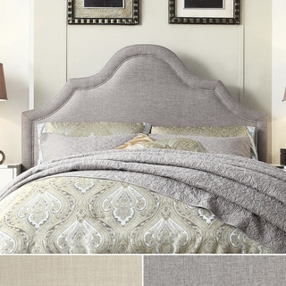 INSPIRE Q Fletcher Linen Nailhead Arch Curved Full-sized Headboard