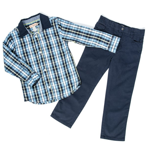 Kids Headquarters Boy's 4-7 2-piece Woven Top/ Denim Pant Set