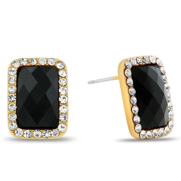 Black Onyx Swarovski Elements Emerald Shape Stud Earrings, Pushbacks