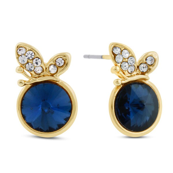 Blue Butterfly Swarovski Elements Stud Earrings, Pushbacks