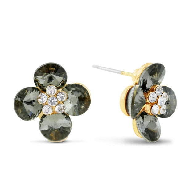 Blooming Flower Swarovski Elements Stud Earrings, Pushbacks