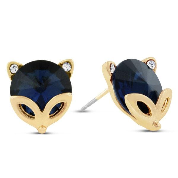 Blue Fox Swarovski Elements Stud Earrings, Pushbacks