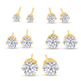 316L Surgical Stainless Steel Round Clear Cubic Zirconia Stud Earring set (5 Pairs), Yellow Gold