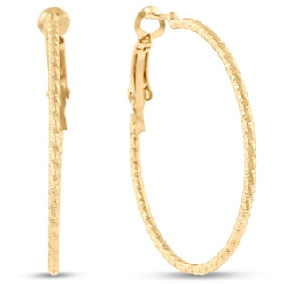 18 Karat Yellow Gold Diamond Cut Hoop Earrings With Omega Backs, 1 1/2 Inches