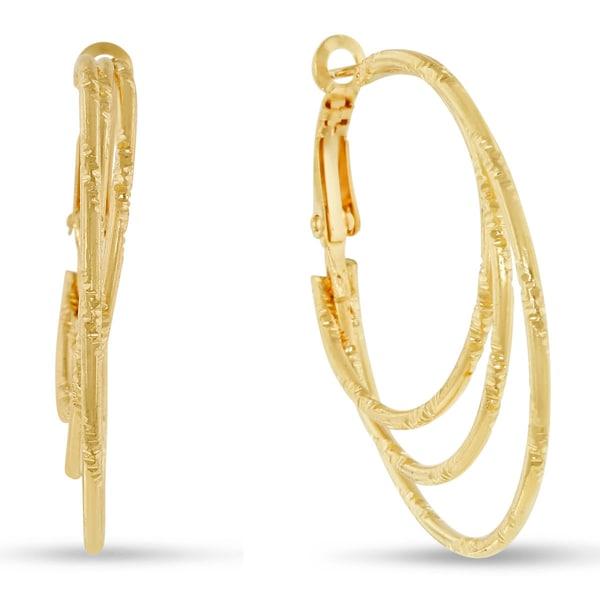 18 Karat Rose Gold Triple Hoop Earrings With Omega Backs, 1 1/2 Inches