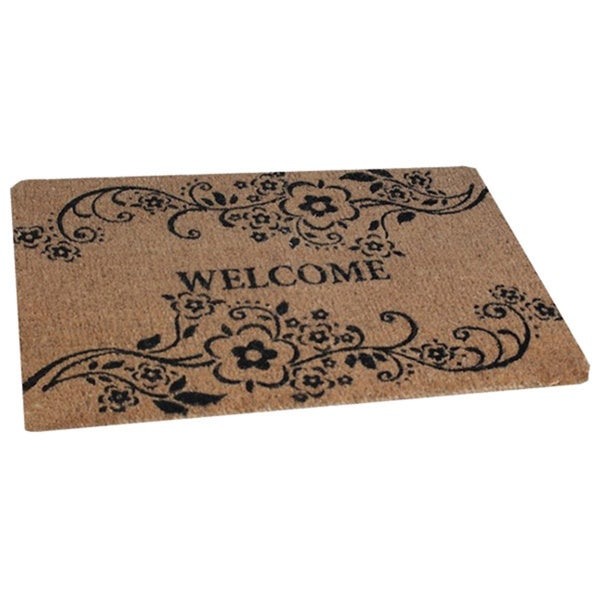 Large Floral Coir Welcome Mat