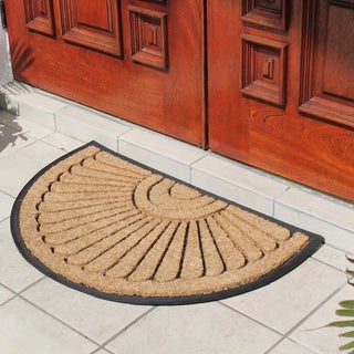 Large Rubber and Coir Molded Half Round Princess Mat