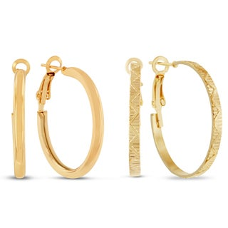 Two Pair 18k Yellow Gold 1-inch Hoop Earrings With Omega Backs